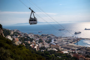 Cable Car And View Of Africa And Bay Of Gibraltar