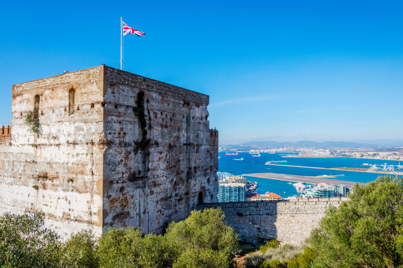 Moorish Castle With British Flag Flying
