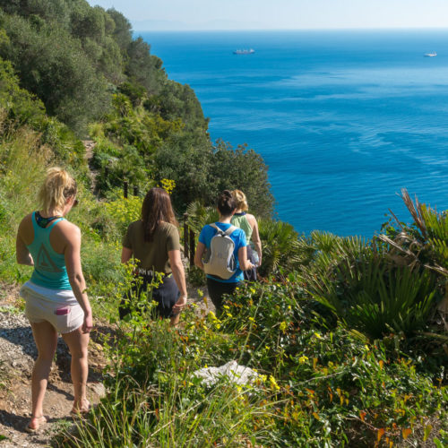 Young Women Walking Down The Gibraltar Nature Reserve Footpaths